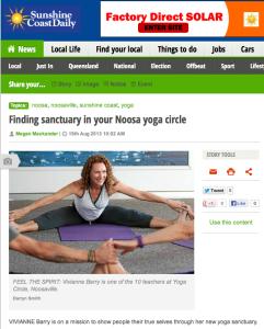 Yoga Circle in The Sunshine Coast Daily